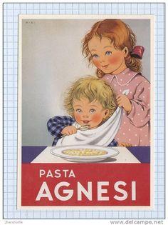 ONEGLIA - Pasta Agnesi - Illustration de MIKI - Enfant - Affiche publicitaire des années 1930 Advertising Slogans, Vintage Advertising Posters, Vintage Travel Posters, Poster Vintage, Vintage Advertisements, Vintage Food Labels, Vintage Cards, Vintage Images, Vintage Designs
