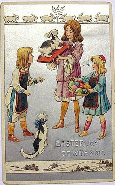 Rare Fantasy Easter Postcard-Children, Cat, Rabbit, Eggs...