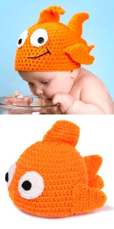 Little Goldfish Shape Knitted Hat For Baby ❤︎ so stinking cute!