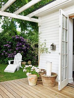 summer deck and pergola design, cottage home decor, outdoor living--Love! Outdoor Rooms, Outdoor Gardens, Outdoor Living, Outdoor Decor, Outdoor Retreat, Outdoor Sheds, Outdoor Seating, White Pergola, Deck With Pergola