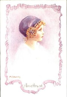 Amy Millicent Sowerby - English (1878-1967) -Amethyst from a set of 6 postcards.
