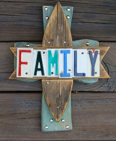 Family Wooden Cross License Plate Art Handcrafted by dables, $35.00