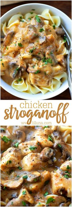 Homemade Chicken Stroganoff - this stuff is so delicious and is a recipe perfect for dinner any night. Tastes better than restaurant Stroganoff! chicken recipes for dinner Pasta Dishes, Food Dishes, Main Dishes, Egg Noodle Dishes, Egg Noodle Recipes, Potato Recipes, Pollo Stroganoff, Cooking Recipes, Healthy Recipes