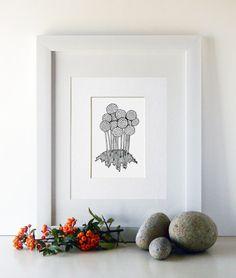 "Black and White Sketch Print 5x7 - ""Pompoms"""