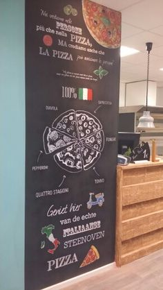 Chalkboard art italian pizza. Color chalk designbyrolf. Design typography More