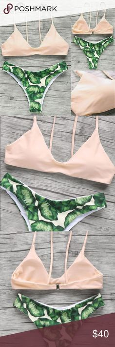 Bikini Set Light pink top and Palm leaf bottoms (PRE ORDER please allow up to 3 weeks for shipment, ask about current availability)  true to size padded  super cute and comfortable (bottoms are on the cheeky side, great for tanning) Swim Bikinis