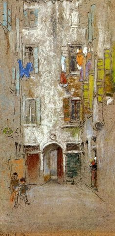 James Abbott McNeill Whistler (1834-1903) Corte del Paradiso c1879-1880 Chalk and pastel on paper.