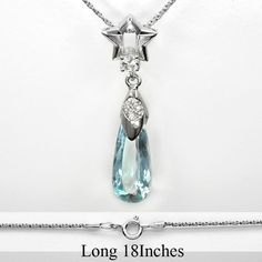 7.70 Carat Natural Aquamarine Necklace With White Zircon in 925 Sterling Silver #Multajewelry #SolitairewithAccents