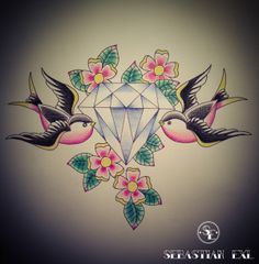 Sebastian Exl | Tattoo Artist; Drawing, 2013, Style: Old School. Diamond Birds!