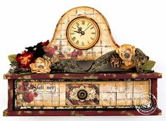 Prima - Stationers Desk Home Decor Clock and Prima Flowers - Scrap Escape
