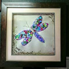 Button craft. Dragonfly.