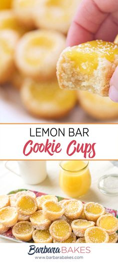 baking recipes These Lemon Bar Cookie Cups are easy to make, and easier to serve than lemon bars. If youre a lemon bar lover, youll love this cookie cup version. Lemon Cookies, Yummy Cookies, Lemon Cookie Recipe, Lemon Cupcakes, Bar Cookies, Chocolate Chip Cookies, Chocolate Tarts, Cookie Recipes, Dessert Recipes