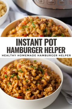 This easy recipe for Homemade Instant Pot Hamburger Helper will be your new favorite weeknight dinner. It's made all in one pot and much healthier than traditional boxed hamburger helper or cheeseburger macaroni. It can also easily be made gluten free. Make this one pot pasta dinner today! Healthy Hamburger, Homemade Hamburger Helper, Real Food Recipes, Healthy Recipes, Healthy Food, Dinner Today, One Pot Pasta, Meal Prep For The Week, Sugar Free Recipes