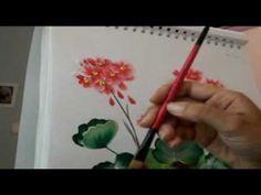 Aprender a pintar flores muy fácil muy rápido con la técnica de pinceladas - YouTube