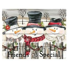 """Friends Are Special Pallet Art is a slatted wood pallet sign that features a beautiful Christmas design by Lisa Kennedy. Sign shows a winter scene with three smiling snowmen standing behind a wooden fence that is wrapped with festive greenery. The bottom of the sign displays the phrase, """"Friends are Special."""" Hangs on a sawtooth hanger. Measures 11.75"""" wide by 9.25"""" high. Made in the USA! Christmas Wood Crafts, Christmas Labels, Christmas Design, Christmas Decor, Christmas Canvas, Christmas Things, Christmas Ideas, Christmas Ornaments, Wooden Pallet Signs"""
