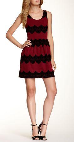 Lace Trim Skater Skirt Dress