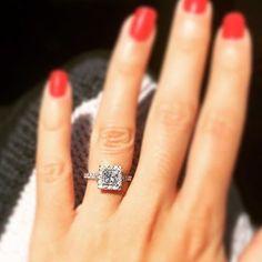 Cut Alert! ➰ Congrats to @louise.powell.501 on her stunning princess cut halo! Gorgeous!➰ #shesaidyes #mrstobe #bridetobe #engagementring #heputaringonit #diamonds