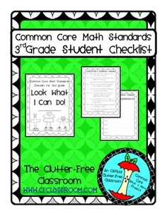 THIRD Grade (3rd grade) I CAN STUDENT CHECKLIST for Common Core Math Standards great for data notebooks