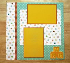 Baby Scrapbook Page - Baby Scrapbook Layout - 12 x 12 Scrapbook - Baby Blocks - Baby Boy - Baby Girl - New Baby - Play Time - Premade Layout
