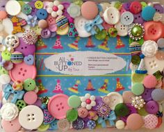"""Winnie the Pooh Happy Birthday Themed Button Picture Frame for 4""""x6"""" Photo in Shades of White, Green, Blue, Pink and Purple"""