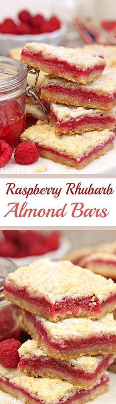 Raspberry Rhubarb Almond Bars - a buttery almond shortbread cookie bar, filled with raspberry rhubarb jam! The best dessert recipe! Rhubarb Desserts, Köstliche Desserts, Delicious Desserts, Dessert Recipes, Yummy Food, Healthy Rhubarb Recipes, Raspberry Rhubarb, Raspberry Recipes, Raspberry Bars