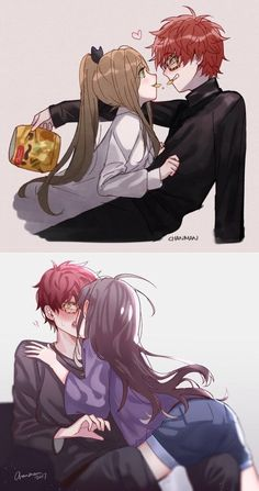 Image about mystic messenger in ᴍʏsᴛɪᴄ ᴍᴇssᴇɴɢᴇʀ by ad astra Anime Couple Kiss, Manga Couple, Anime Couples Drawings, Anime Couples Manga, Seven Mystic Messenger, Mystic Messenger Fanart, Mystic Messenger Characters, Cute Anime Coupes, Saeran