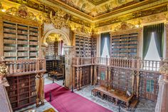 Biblioteca Joanina, part of The University of Coimbra General Library, Coimbra, Portugal. This Baroque library was built in the 18th century during the reign of King João V (and named after him). It contains about 250 thousand volumes.