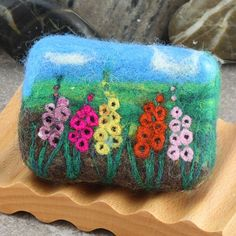Felted Soap - Coconut Milk Olive Oil Soap with Field of Gladiolus Landscape Design.  By Alaiyna B. Bath and Body