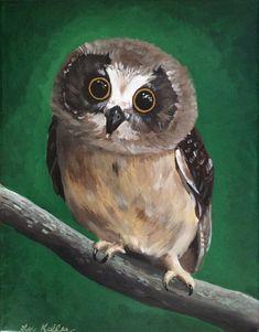 Owl print from original canvas owl painting.  Owl  art by Lee Haigler Keller onHippieHoundUSA.etsy.com
