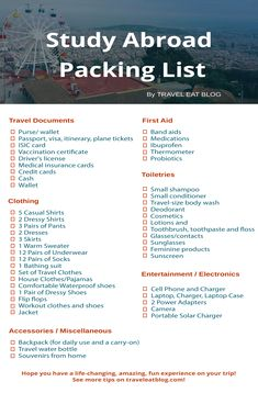 college packing list Still wondering what you should pack for study abroad? I put together this Study Abroad Packing List of everything you need when you go on your trip abroad! Study Abroad Packing, College Packing Lists, Packing Hacks, Packing List For Travel, Travel Abroad, Boarding School Packing List, Italy Study Abroad, Travel Europe, University Packing List