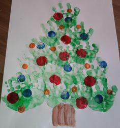 Handprint Christmas Tree Painting - Preschool Craft