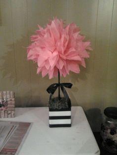 MY DIY TISSUE PAPER POM POM TOPIARY! :  wedding pom pom diy centerpiece flowers pink green black black green pink white bouquet inspiration flowers diy reception 2011 11 21 21.02.19