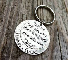 Personalized Hand Stamped Keychain Stole My Heart DADDY Custom Key Ring DAD Gift for HIM Fathers Day on Etsy, $32.00