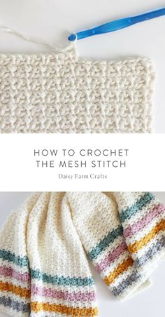 Crochet Afghans How to Crochet the Mesh Stitch - Pattern Start with an even number of chains. SC in the chain from the hook and CH … Tunisian Crochet, Easy Crochet, Crochet Hooks, Crochet Baby, Free Crochet, Knit Crochet, Crochet Afghans, Crochet Blankets, Dishcloth Crochet