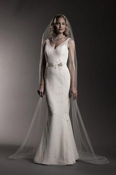 Laces and Novelties , V-Neck, Sheath - Bacall | Designer Wedding Dresses | Amy Kuschel Bride | Couture Bridal Gowns | Clever Couture