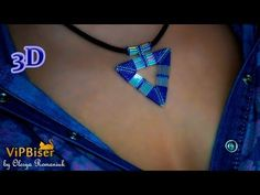 Beaded Pendant Triangle with seed & bugle beads. 3D Beading Tutorial