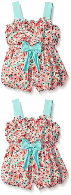 Rare Editions Baby Little Girls' Patch Print Chiffon Romper, Coral/Mint, 18 Months