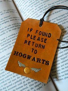 Leather Luggage Tag: Please Return to Hogwarts