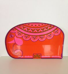 Vintage 1960s Pink Elephant Serving Tray..