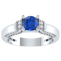 1.29ct Blue Sapphire Solitaire Engagement Two Tone Ring in 14kt Gold Over Silver #RegaaliaJewels #Solitaire
