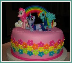 My little Pony birthday cake. Every detail is handmade in fondant and gum paste