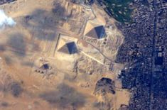 """The Great Egyptian Pyramids of Giza from space and the International Space Station on 10 June 2015.  """"It took me until my last day in space to get a good picture of these! Credit:  (Credit: NASA: Terry Virts/@AstroTerry)"""