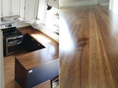 beautiful DIY walnut countertops