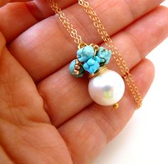 Turquoise necklace  The Carrice   fresh necklace by anthology27, $32.95