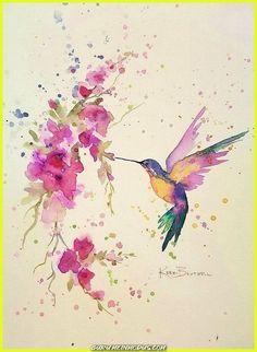 Watercolor Hummingbird, Hummingbird Art, Watercolor Bird, Watercolor Tattoo, Watercolor Paintings For Beginners, Watercolor Projects, Watercolor Artists, Art Floral, Art Colibri