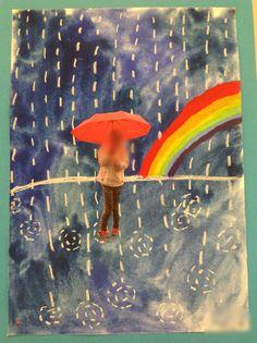 Oma kuva syksyn sateessa. Valokuva, liidulla sade ja lätäköt ja vesivärillä tausta.