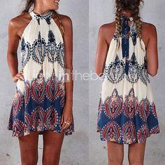 Women's Sexy Beach Casual Party Print Mini Dress - USD $ 15.99 Summer top. Cute!