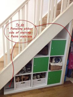basement...Under stairs storage idea for small area