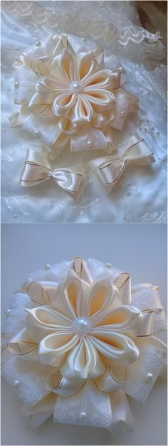 Cloth Flowers, Satin Flowers, Fabric Flowers, Handmade Crafts, Diy And Crafts, Rose Tutorial, Kanzashi Flowers, Diy Bow, Ribbon Work