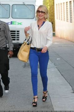 Style with blue pants...